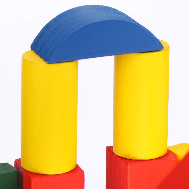 com-four/® 50x Bloques de Madera en un Cubo Bloques de Madera Juguetes de Madera para ni/ños peque/ños