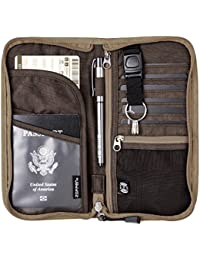 RFID Travel Wallet & Documents Organizer Zipper Case, Family Passports Holder with Removable Wristlet Strap
