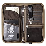 Zoppen RFID Travel Wallet & Documents Organizer Zipper Case, Family Passports Holder with Removable Wristlet Strap (Camel)