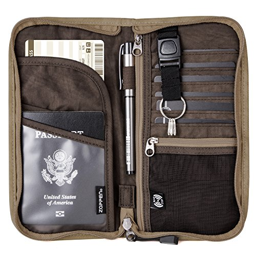 Zoppen RFID Travel Passport Wallet & Documents Organizer Zipper Case with Removable Wristlet Strap, Camel ()