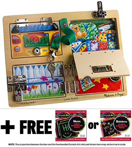 Lock & Latches Board + FREE Melissa & Doug Scratch Art Mini-Pad Bundle [95402]