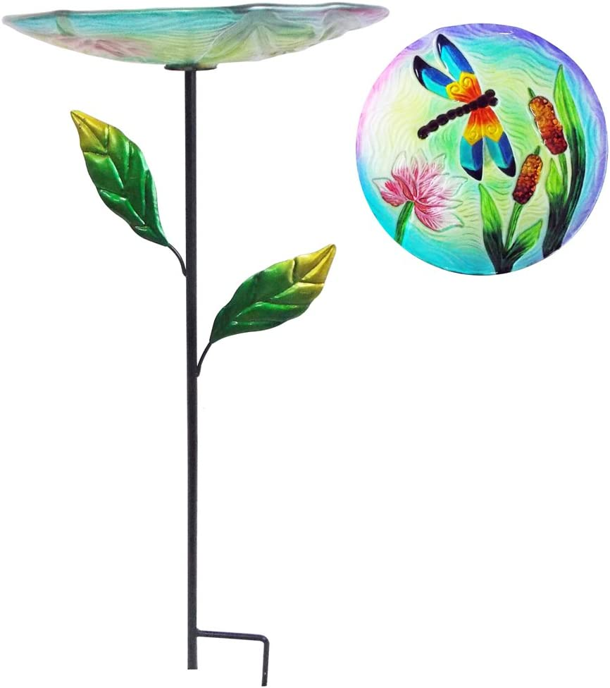 "Comfy Hour 24"" Dragonfly Reed Bulrush Flower Glass Birdbath Birdfeeder Metal Art Garden Stake with Leaves"