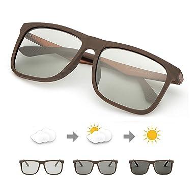 TJUTR Fotocromaticas Gafas de Sol Polarizadas Hombre, Marco Rectangulares Clásico Anti Reflectante Ultraligero -100% Protección UVA UVB