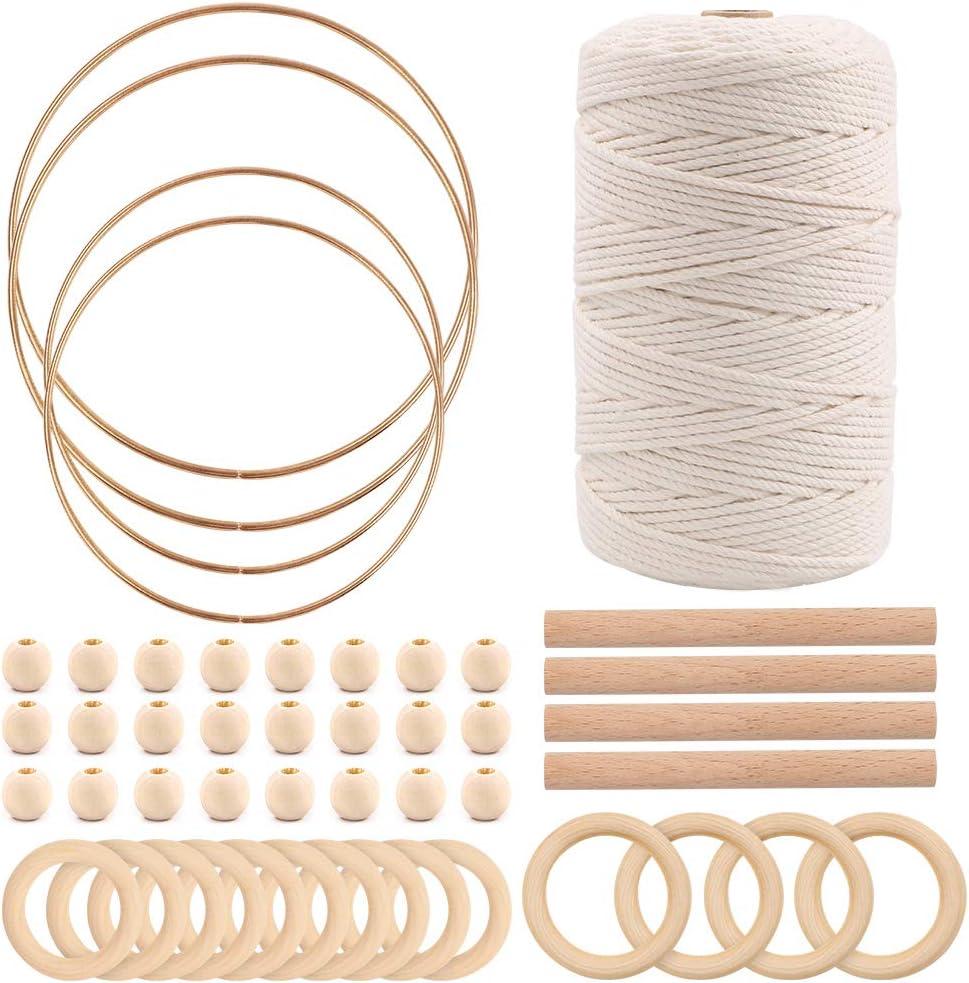 cintres muraux Tricot Artisanat Gukasxi 200M 3mm 100/% Coton Naturel Corde en macram/é avec bagues en Bois bagues Perles et Anneaux Attrape-r/êves en m/étal pour cintres de Plantes /à bricoler soi-m/ême