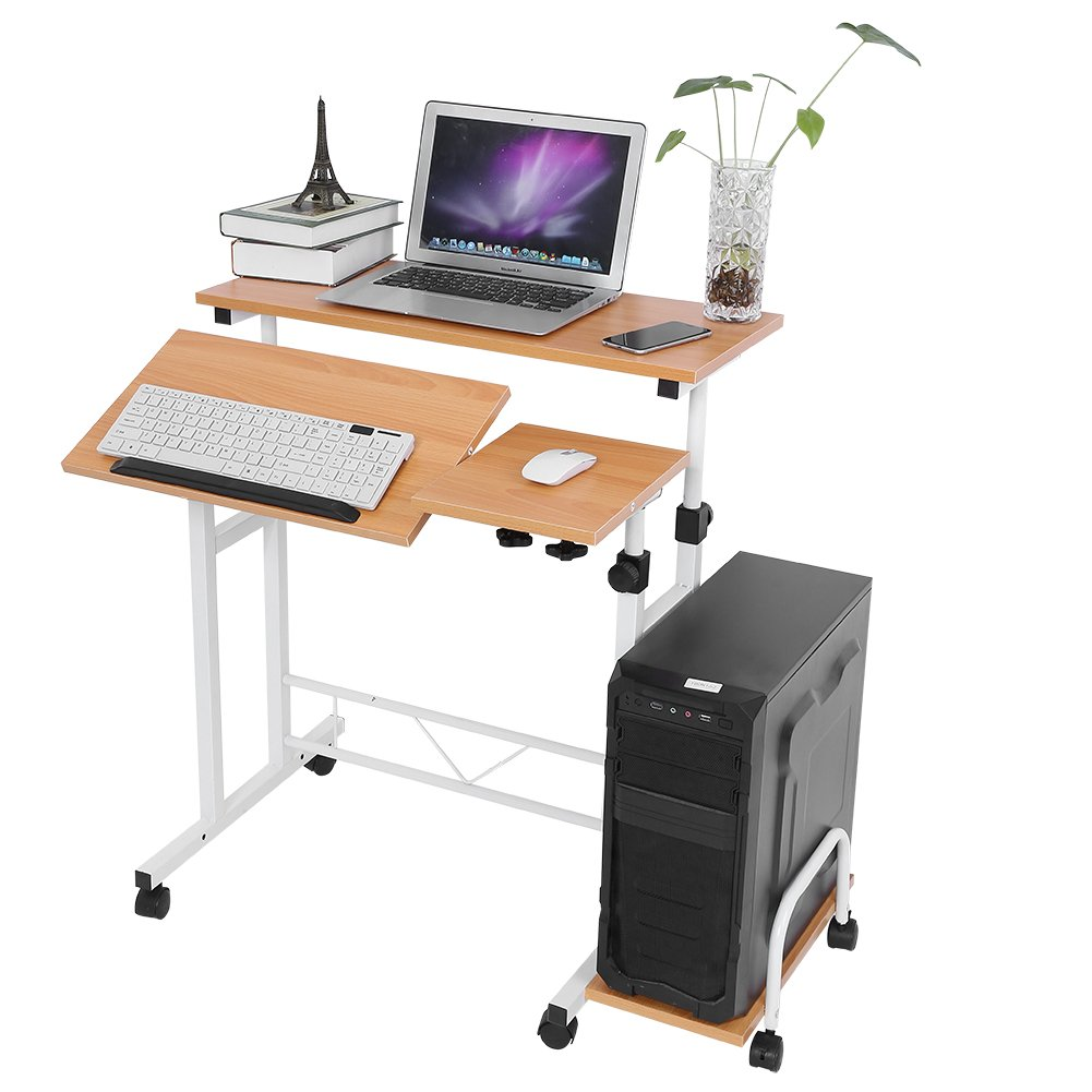 Stable Height Adjustable Mobile Laptop Computer Standing Desk for Home Office Black New