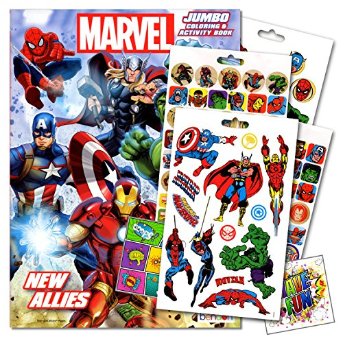 Super Heroes Coloring Books - Marvel Comics Heroes Coloring Book With Stickers and Tattoos Set Bundled with 2 Specialty Separately Licensed GWW Reward Stickers