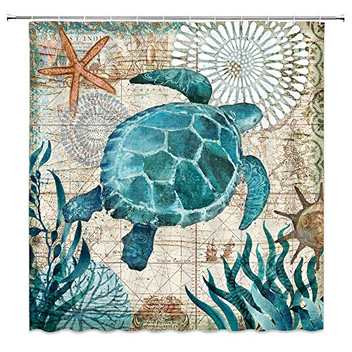 (AMNYSF Vintage Sea Turtle Decor Colorful Home Shower Curtain Marine Life Ocean Plants Seabed World Scenic,70x70 Inches Waterproof Polyester Fabric Bathroom Accessories Curtains 12pcs Hooks)