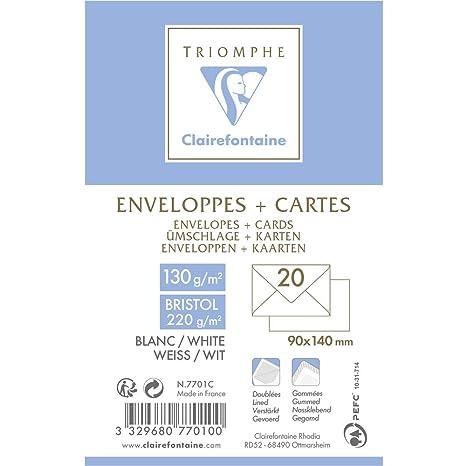 Clairefontaine 7701C Lot De 20 Enveloppes Combine Visite Comprenant Avec Doublure 9 X 14 Cm Blanc Amazonfr Fournitures Bureau