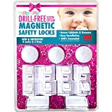 Premium - 8 Locks & 3 Keys Drill-Free 3M-Adhesive Magnetic Safety Cabinet & Drawer Locks for Baby Proofing - From Keen Baby