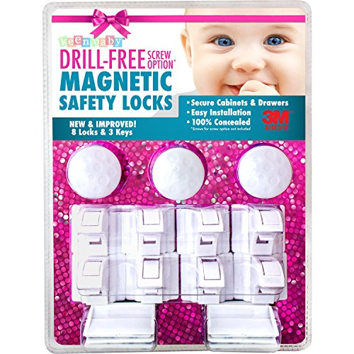 8 Locks & 3 Keys Drill-Free 3M-Adhesive Magnetic Safety Cabinet & Drawer Locks for Baby Proofing - From Keen Baby