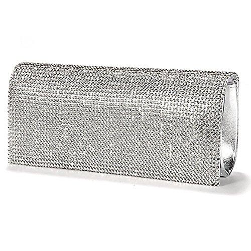 TOOGOO(R) Borsa Portafoglio Evening Bag Imitation Leather Patent Rabat Set con Argento Rhinestone per Donna Ragazza