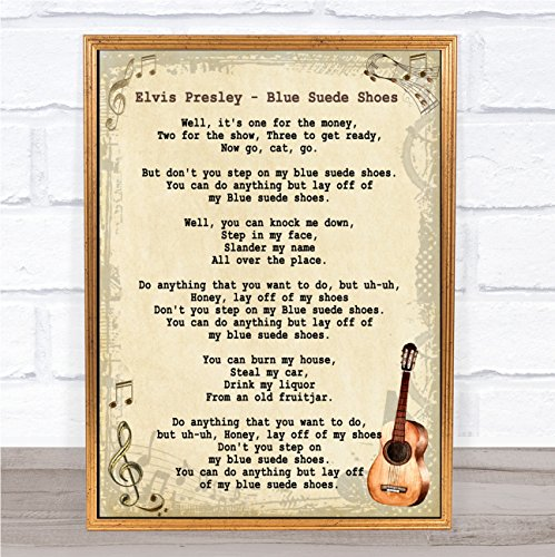 Blue Suede Shoes Song Lyric Vintage Quote Print