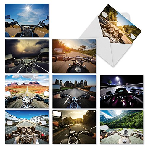 Vroom With A View - 10 Blank Motorcycle Greeting Cards (4 x 5.12 Inch) - Box of All Occasion Note Cards for Birthday, Thank You, Congrats - Stationery Notecard Set M2356OCB
