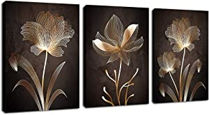 arteWOODS Abstract Wall Art Golden Flowers Canvas Pictures Contemporary Minimalism Abstract Artwork for Bedroom Bathroom Living Room Wall Decor 12