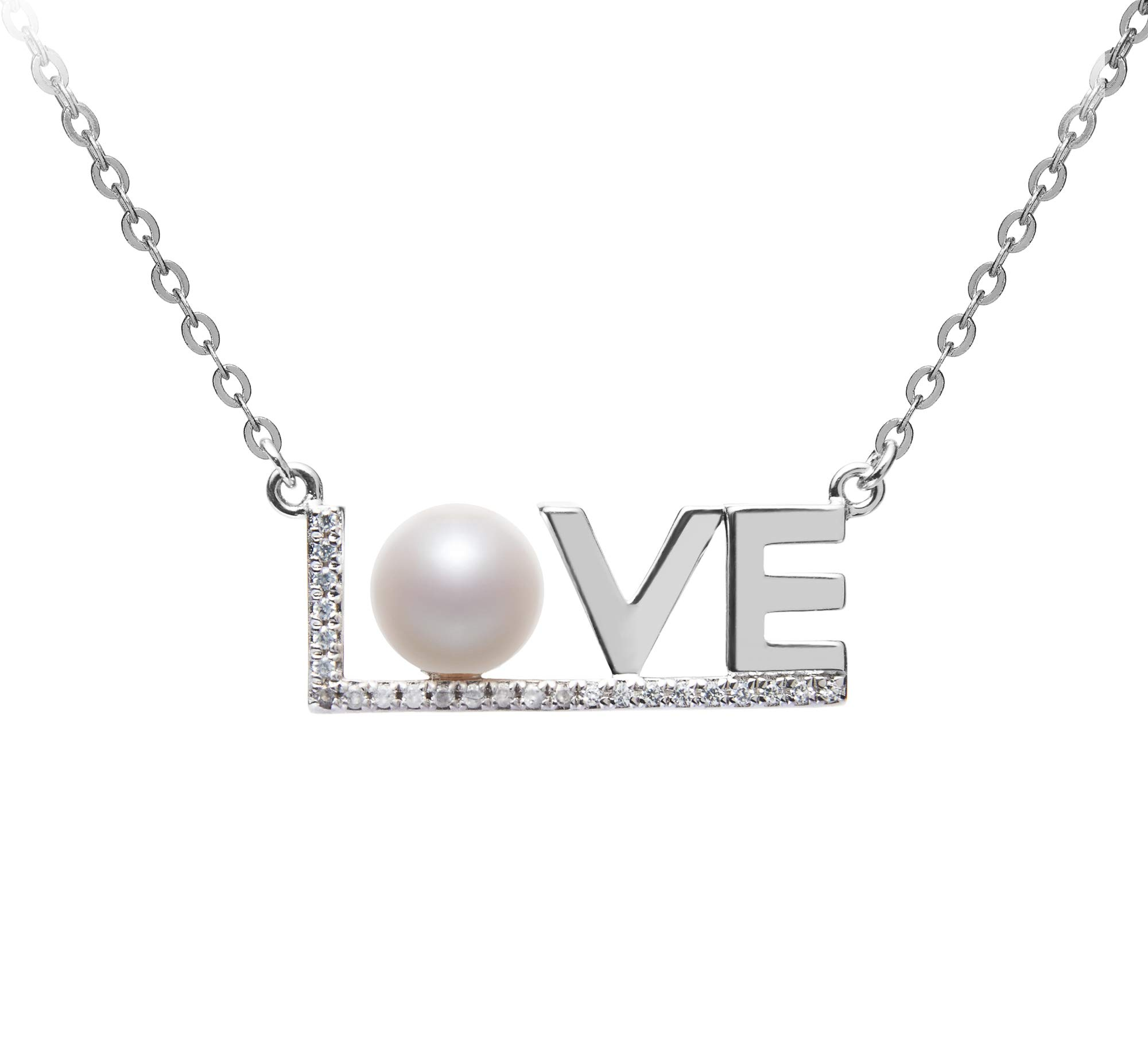 LOVE White 6-7mm AAAA Quality Freshwater 925 Sterling Silver Cultured Pearl Necklace For Women