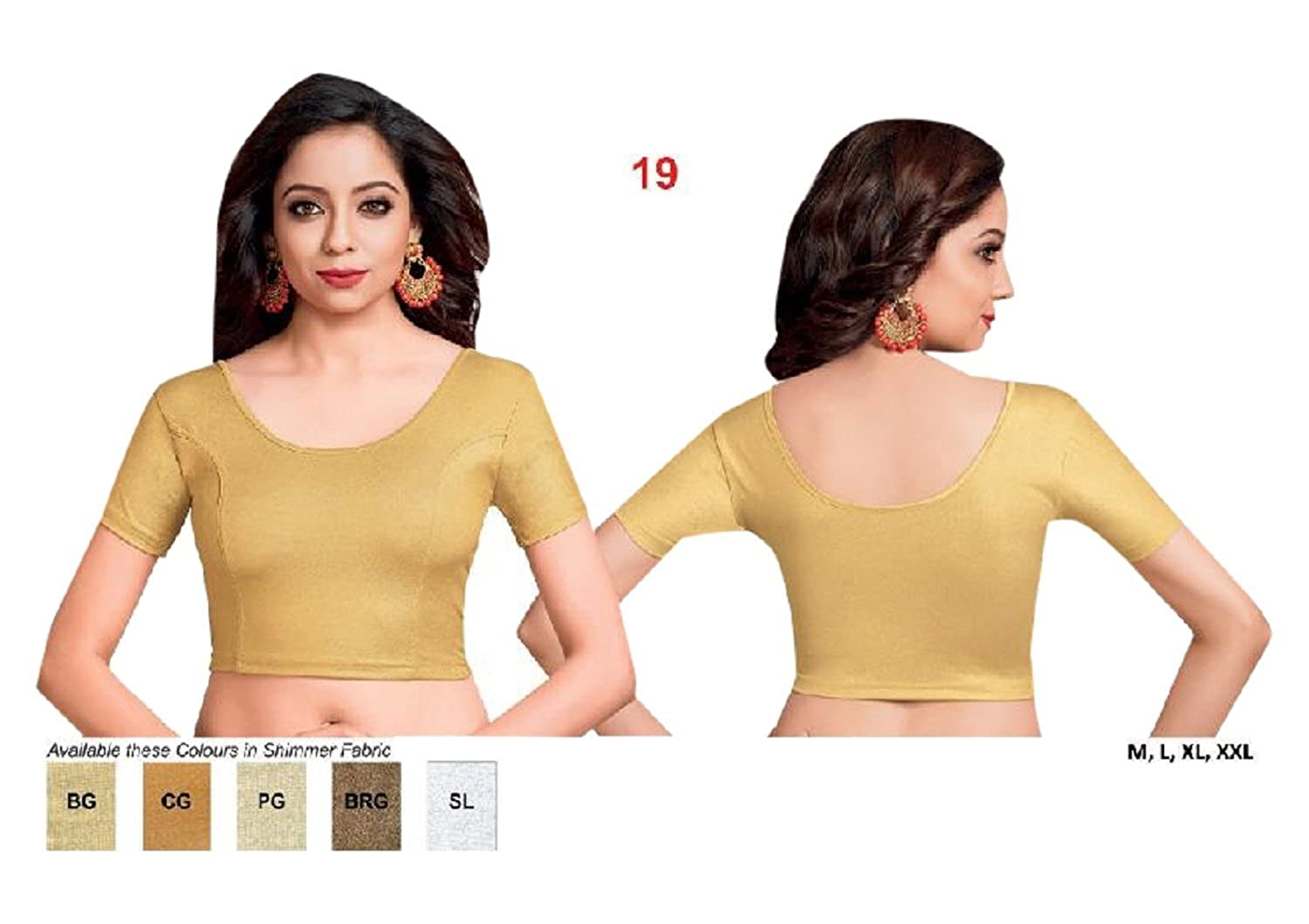 790245607c2b0 Amazon.com  Golden Designer Crop Top Women Lycra Multicolor Stretchable  Blouse Ready Made Party Stitched Plus Size S