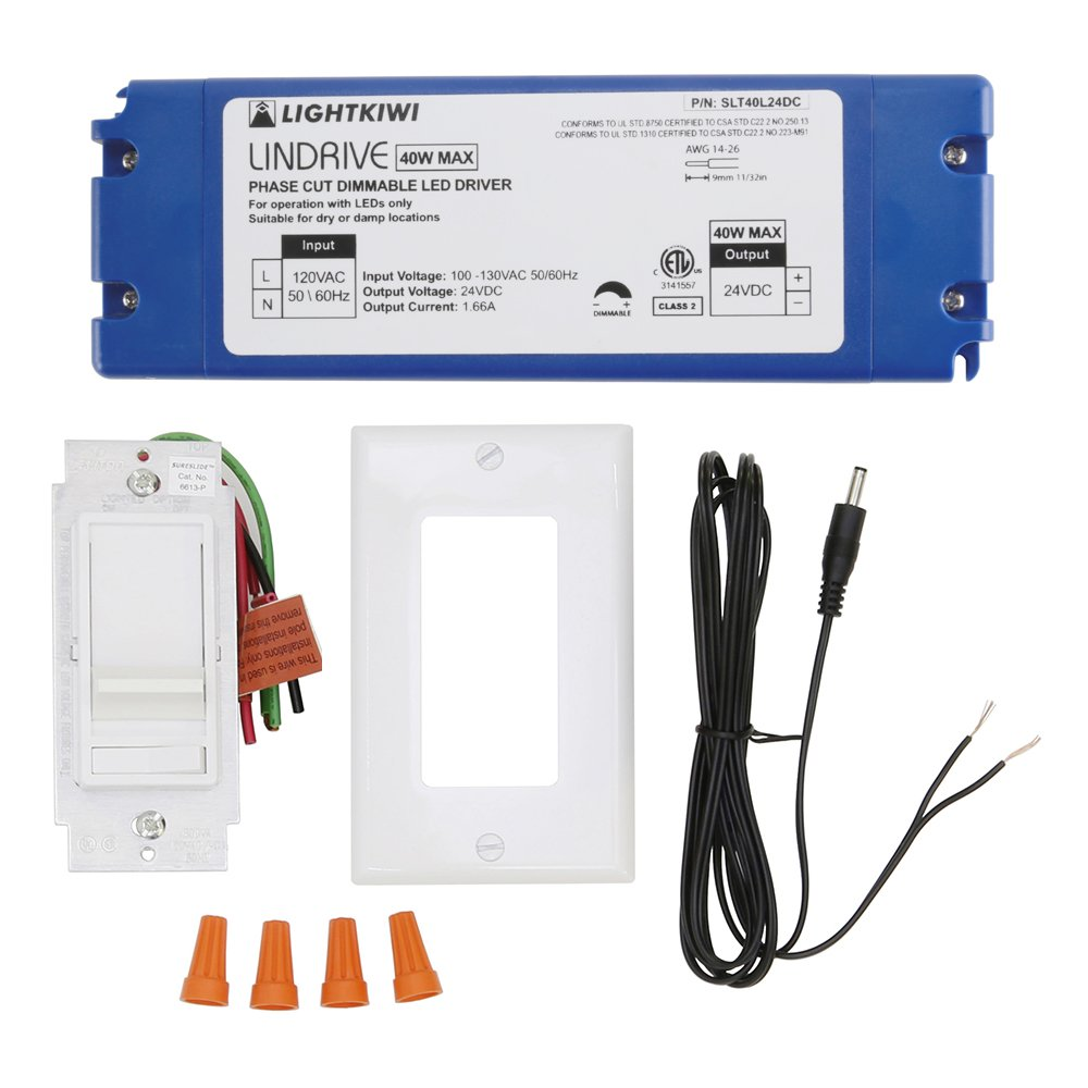 Lightkiwi Q8114 Hardwire Kit, Direct Wire for 24VDC LED Under Cabinet Lighting - 40 Watt Phase Cut Dimming