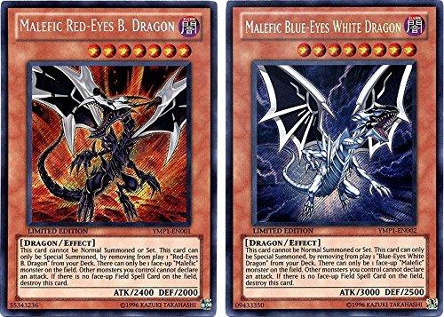 Yu-Gi-Oh Bonds Beyond Time Movie Promo Red-Eyes vs. Blue-Eyes Secret Rare YMP1-EN001 & YMP1-EN002 (Konami) (Red Eyes Black Dragon Vs Blue Eyes)