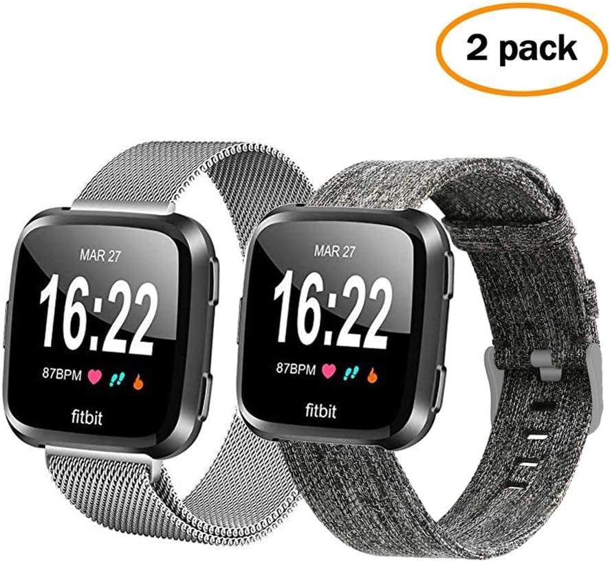 Correa de reloj Lanouon para Fitbit Versa 2, de acero inoxidable, correas de reloj de malla transpirable tejido de repuesto para Fitbit Versa/Versa 2/ Versa Lite hombres y mujeres, color Gris + plata.: