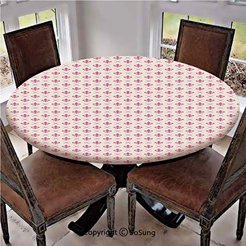 Elastic Edged Polyester Fitted Table Cover,Pink Colored Ancient Lily Flower Motifs with Checkered Pattern French Heraldry Decorative,Fits up 40