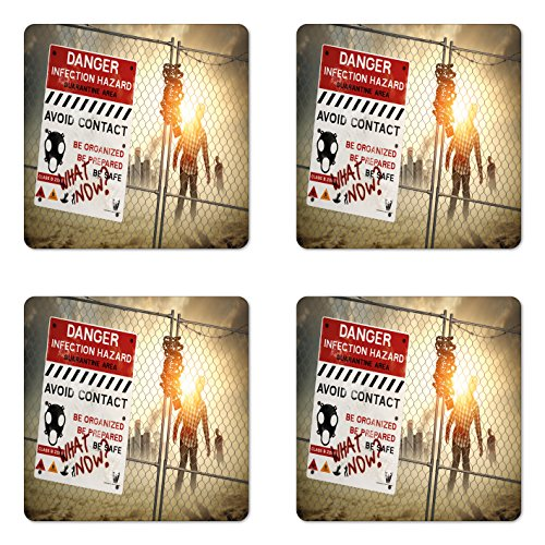Ambesonne Zombie Coaster Set of 4, Dead Man Walking in Dark Danger Scary Scene Fiction Halloween Infection Picture, Square Hardboard Gloss Coasters for Drinks, Multicolor]()