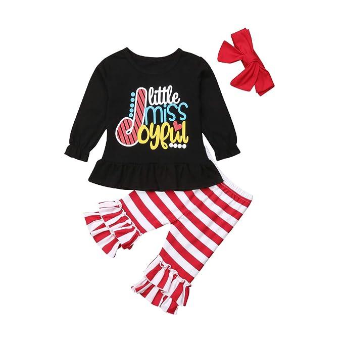 3PCS//Set Kids Outfit Toddler Baby Girls Long Sleeve Flare Shirt Tops Pants Hat