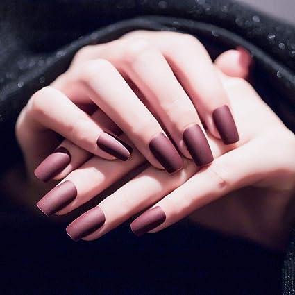 Jovono 24 uñas postizas de colores sólidos, color rojo, uñas ...