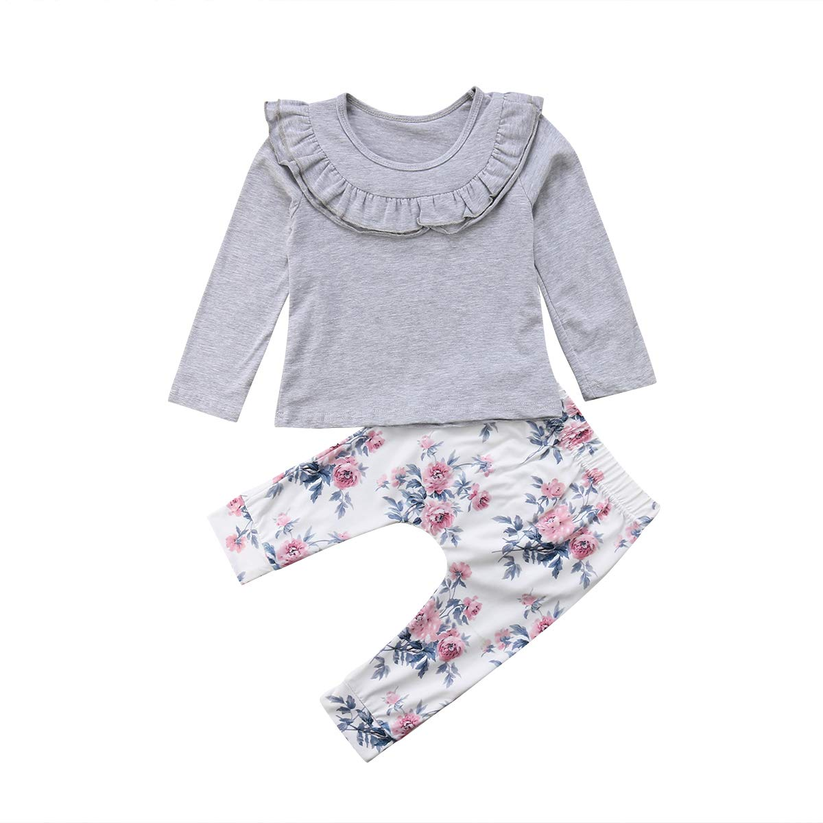 Baby Girls Long Sleeve Solid Color Ruffle Top and Floral Pants Outfit Set 2pcs Fall Winter Clothes