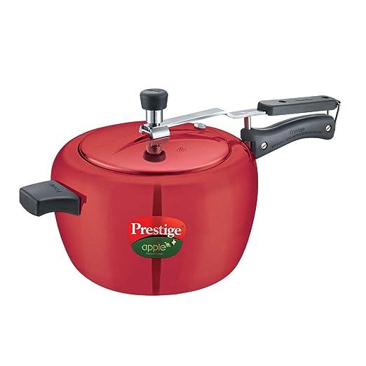Prestige Apple Plus Inner Lid Aluminium Pressure Cooker, 5 Litres, Red