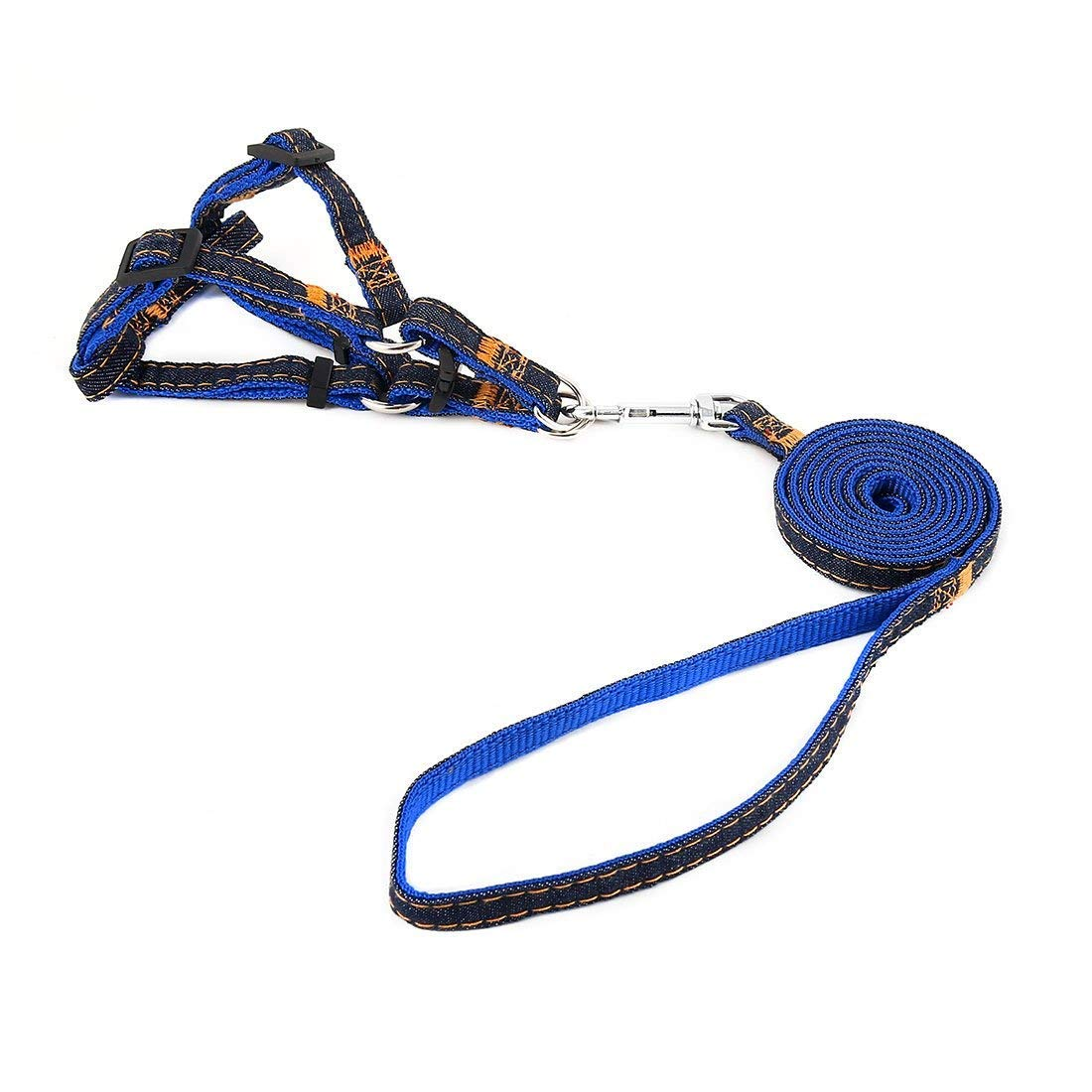 1Pc S, bluee   Denim Pet Dog Picnic Running Adjustable Handle Leash Rope Chest Harness