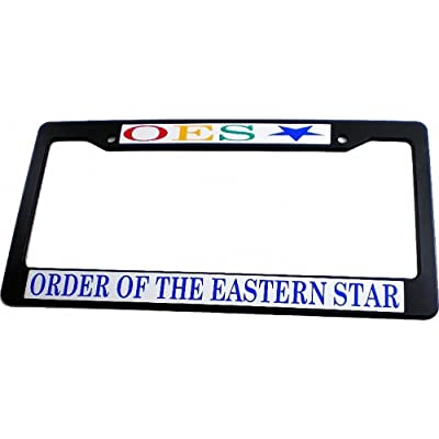 Cultural Exchange Eastern Star Text Decal Plastic License Plate Frame [Black - Car/Truck]: Automotive