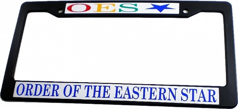 Cultural Exchange Eastern Star Text Decal Plastic License Plate Frame Black - Car//Truck