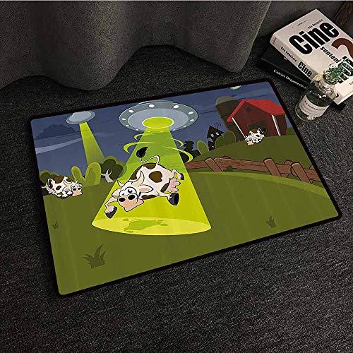 - Cartoon Front Door Mat Large Outdoor Indoor Farm Warehouse Grass Fences Cow Alien Abduction Funny Comics Image Artwork Print Durable W31 xL47 Multicolor