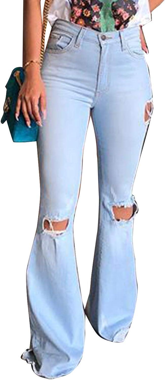 Zilcremo Pantalones Vaqueros De Mujer Hippie Rasgados Pantalones ...