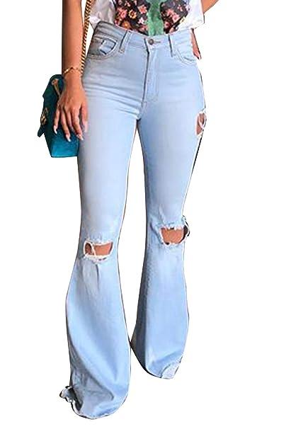 Zilcremo Pantalones Vaqueros De Mujer Hippie Rasgados ...