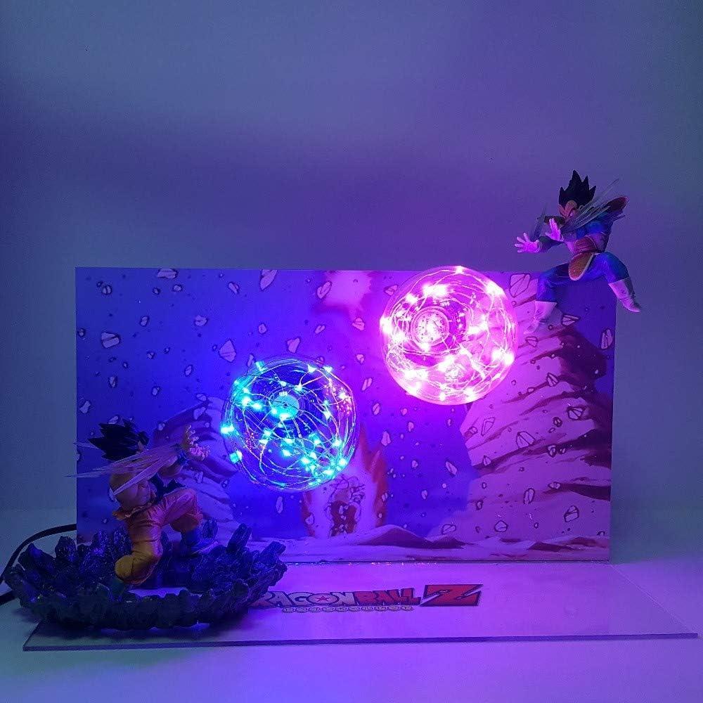 Lámpara de Dragon Ball Son Goku Kamehameha VS Vegeta Galick GUN Luces de Noche Led Lampara Dragon Ball Z Super Saiyan DBZ Lámpara de Mesa