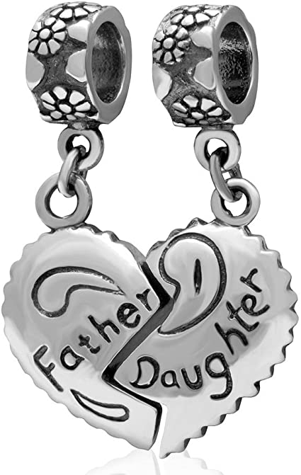 Amazon Com Amoony 925 Sterling Silver Dangle Heart Father And Daughter Family Charm Fit Pandora Jewelry Charms Bracelet Arts Crafts Sewing