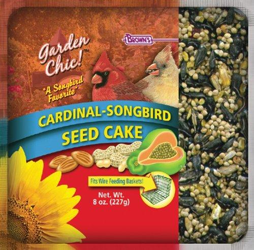 F.M. Brown's Garden Chic Wild Bird Mini Seed Cakes, 8-Ounce, Cardinal/Songbird with Fruit (Cardinals Mini Garden)
