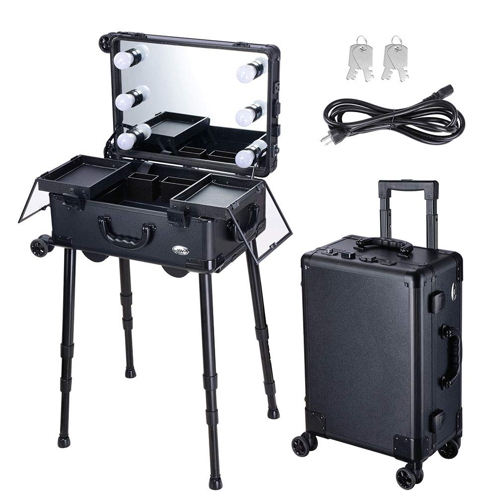 AW Rolling Makeup Case 12x8x20'' with LED Light Mirror Adjustable Legs Lockable Train Table Studio Artist Cosmetic