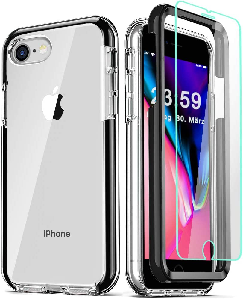 COOLQO Compatible for iPhone 8 /iPhone 7 /iPhone 6S/6 Case, with 2 x Tempered Glass Screen Protector Clear 360 Full Body Coverage Hard PC+Soft Silicone TPU 3in1 Shockproof Phone Protective Cover Black