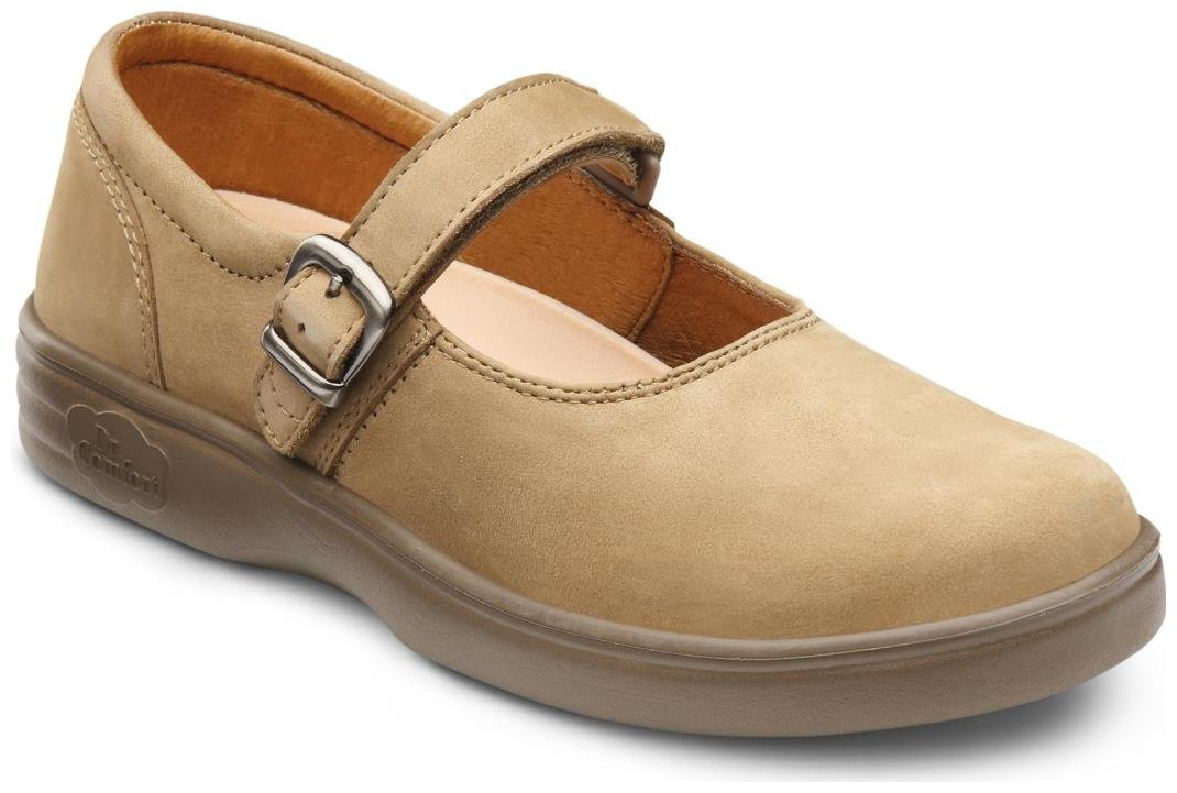Dr. Comfort Merry Jane Women's Therapeutic Extra Depth Shoe: Beige 9.5 Medium (A-B) Velcro