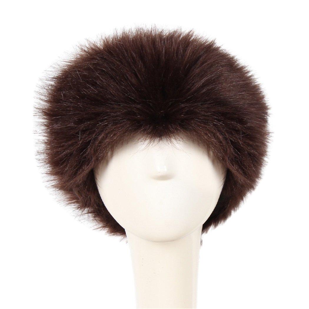 FUNOC Women Russian Fluffy Fox Fur Hat Headband Winter Earwarmer Ski Hat Faux FUNOC*236810603
