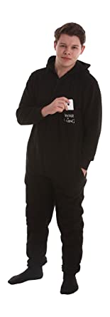 """Funzee """"Winter is Coming"""" Black Non Footed Pajamas - Adult One piece Suit (Medium)"""