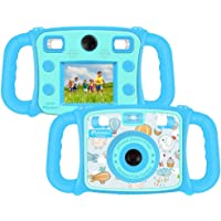 "Prograce Kids Camera Dual Selfie Camera 1080P HD Video Recorder Digital Action Camera Camcorder Boys Girls Gifts 2.0"" LCD Screen 4X Digital Zoom Funny Game(Blue)"