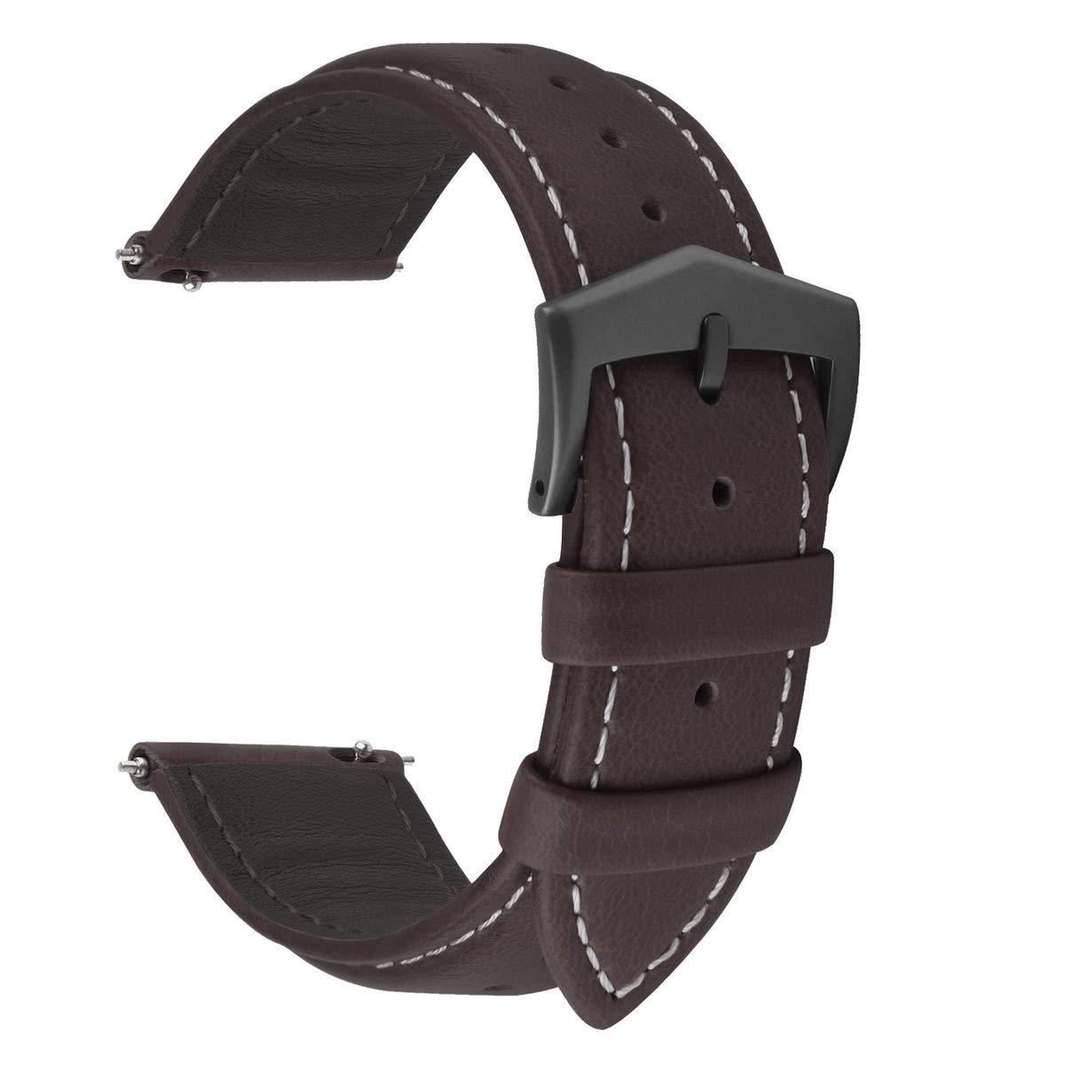 Fullmosa Correa de Reloj de Piel Liberación Rápida, Labu Pulsera de Repuesto de Cuero Engrasado para Relojes 18 mm 20 mm 22 mm Mujer Hombre