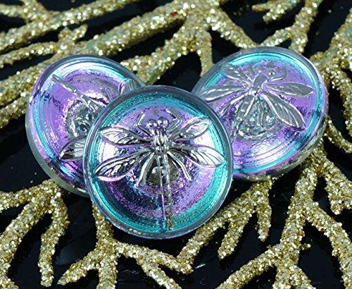 Dichroic Glass Buttons - Handmade Czech Glass Buttons Small Silver Dragonfly Dichroic Vitrail Light Size 8, 18mm 1pc