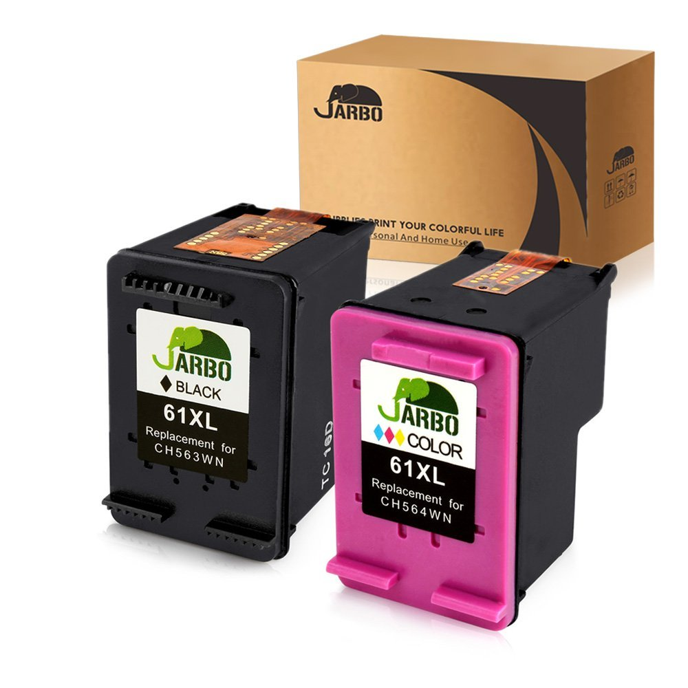 JARBO Remanufactured Ink Cartridge Replacement HP 61XL High Yield, Used in HP Envy 4500 5530 5534, HP Deskjet 1000 1512 2540 3050 3510 2510, HP Officejet 4630 Printer,1 Black+1 Tri-Color, 2-Pack