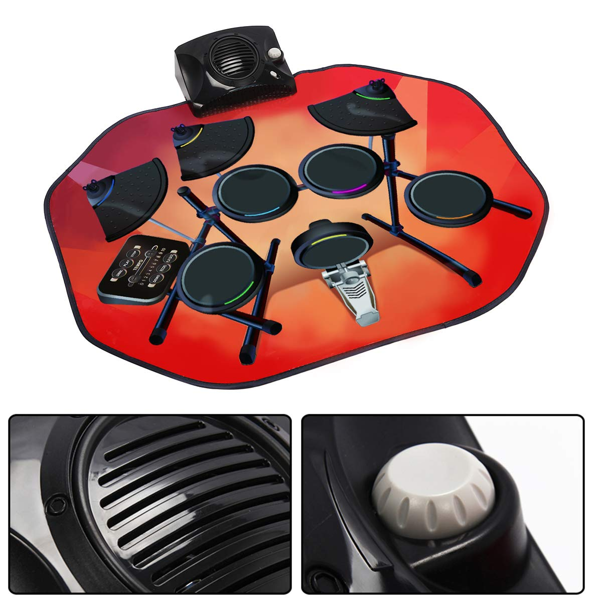Costzon Electronic Drum Mat, 8 Keys Glowing Music Mat with LED Lights,MP3 Cable, Drumsticks, Support Play - Study-Record - Playback - Demo 5 Modes, Volume Control by Costzon (Image #4)
