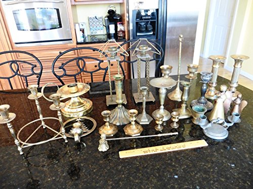 Lot of 22 Candle sticks holders Brass &  - Silverplate Vanity Shopping Results