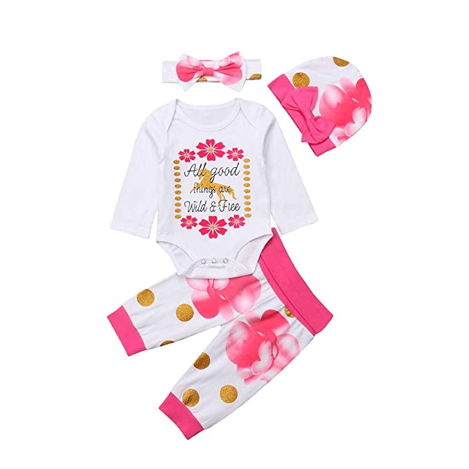 d5bb6b49aa92 Amazon.com  3 PCS Infant Newborn Baby Boy Girls Letter Print Romper ...